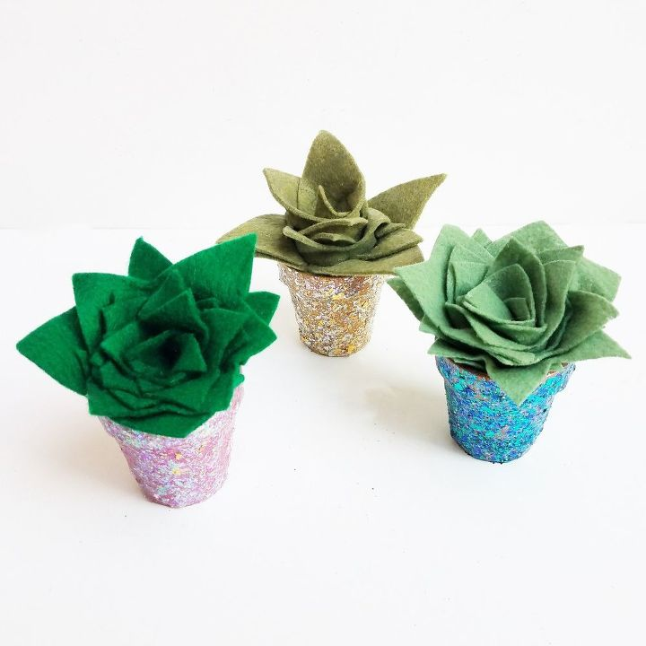 rolled felt cacti in a glitter pot