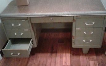 q cleaning antique cole steel tanker desk