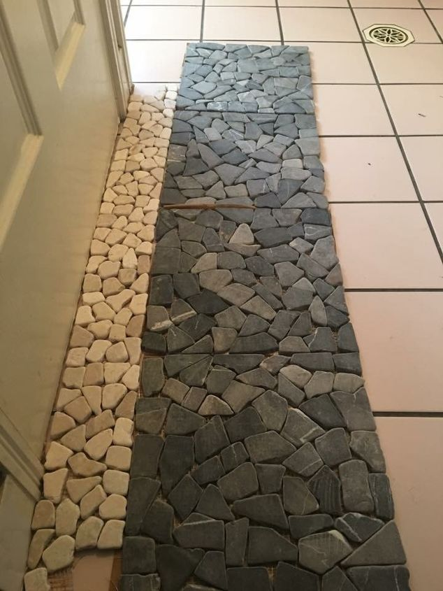 Stone Pebble Tiles On Top Of Old