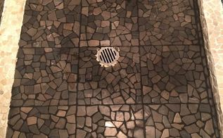stone pebble tiles on top of old tiles