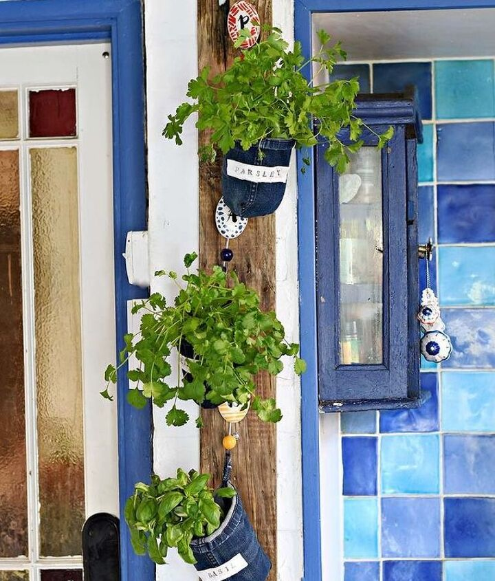 handy rustic indoor herb garden made from old jeans