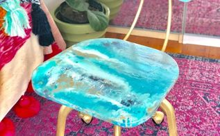 how to paint pour on a chair inspired by a geode