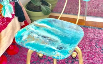 How to Paint-Pour on a Chair Inspired by a Geode
