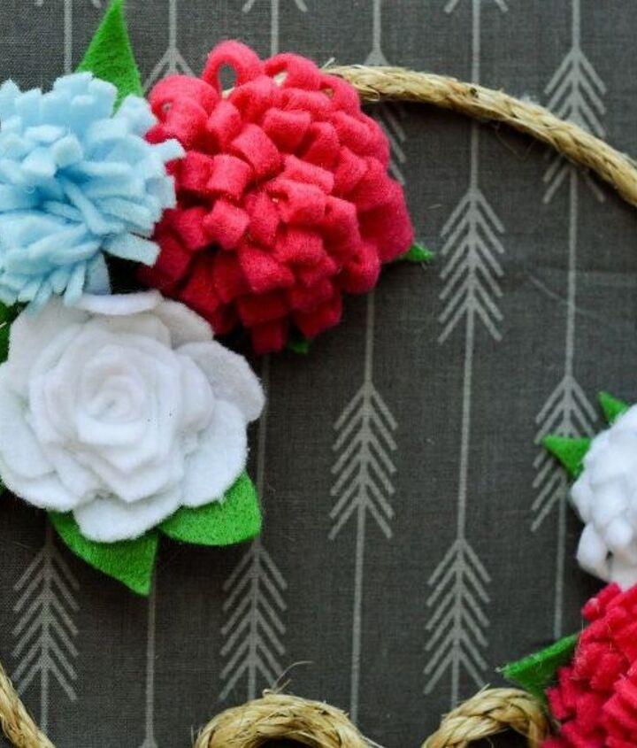 spring front door wreath with felt flowers