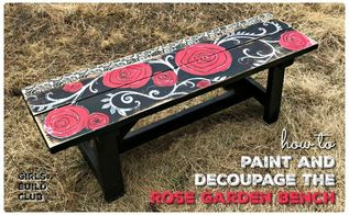 painted and decoupaged rose garden bench diy