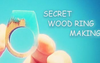 secret wood ring making, turquoise resin and walnut ring