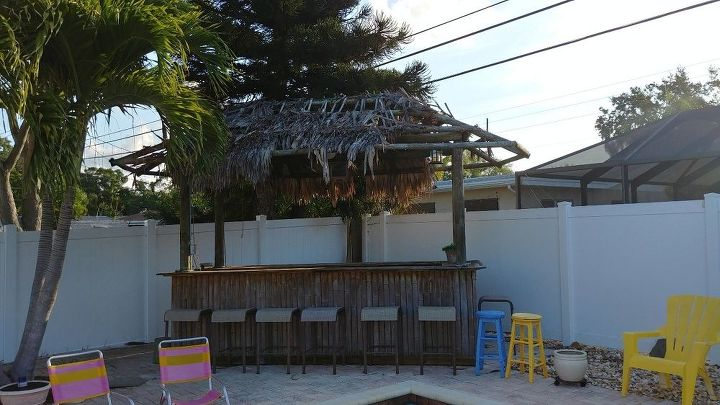 q how or what do i use to place the top of my tiki bar inexpensively
