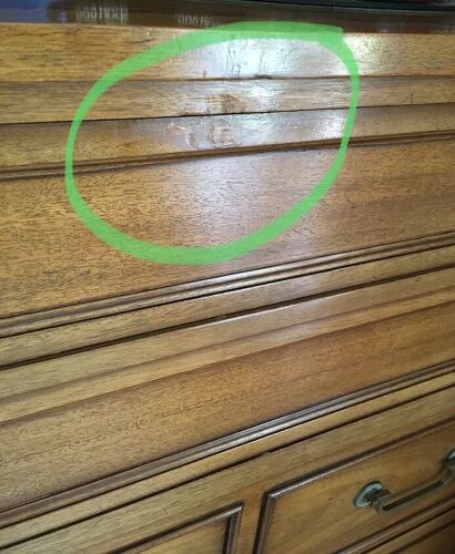 Drexel Gany Dresser And I Can Still See Evidence Of The Defect Its Quite Hard To Match Color Sheen Horrified We Caused This Damage From Not
