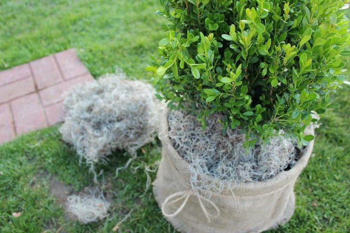 shabby chic burlap and twine planter