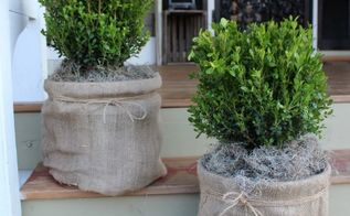 shabby chic burlap and twine planter