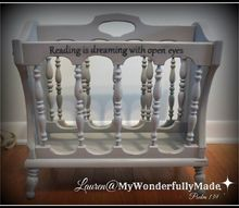 shabby chic magazine rack with quote