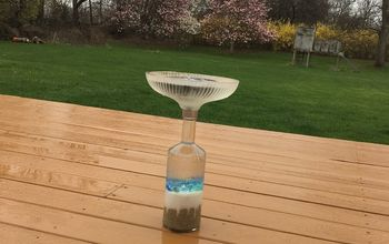 repourposed lampshade into a solar water fountain