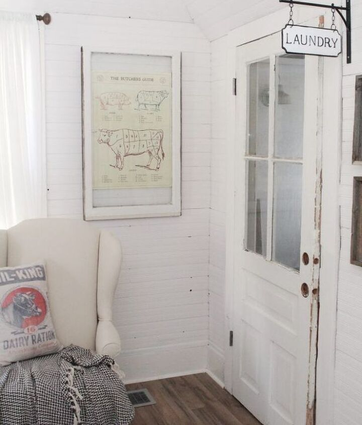 vintage window makeover using a poster