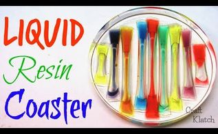 liquid rainbow resin coaster diy