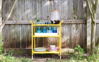 turn a rusty cart into a gorgeous backyard bar cart
