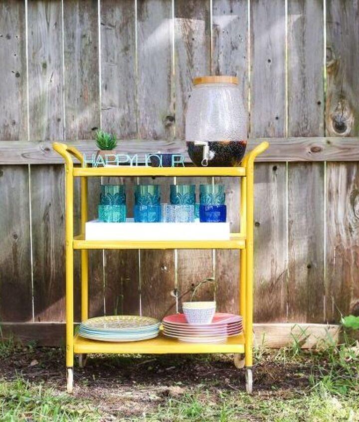 turn a rusty cart into a gorgeous backyard bar cart