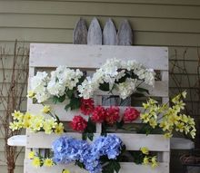 market flower display from a wood pallet