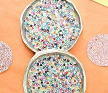 bead filled resin coasters