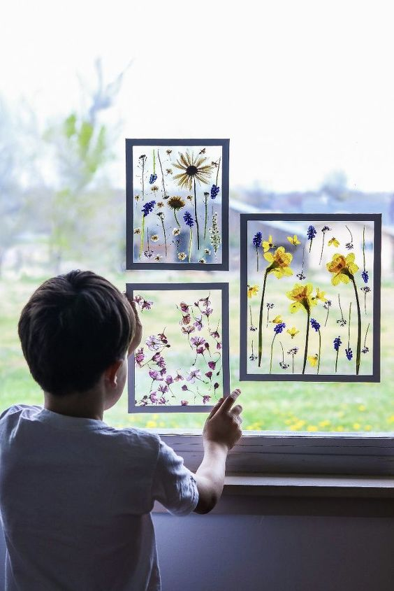 pressed flower art suncatcher