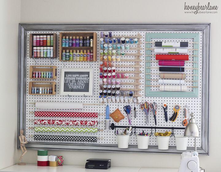 s craft organization ideas mom will love, Organizational Pegboard