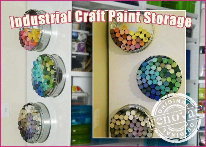 s craft organization ideas mom will love, Industrial Paint Bottles