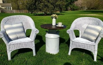 painting wicker chairs and a milk can table diy bistro set