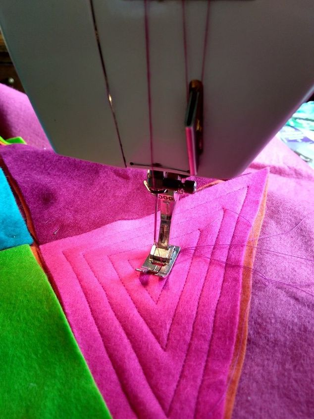 Sewing the squares.