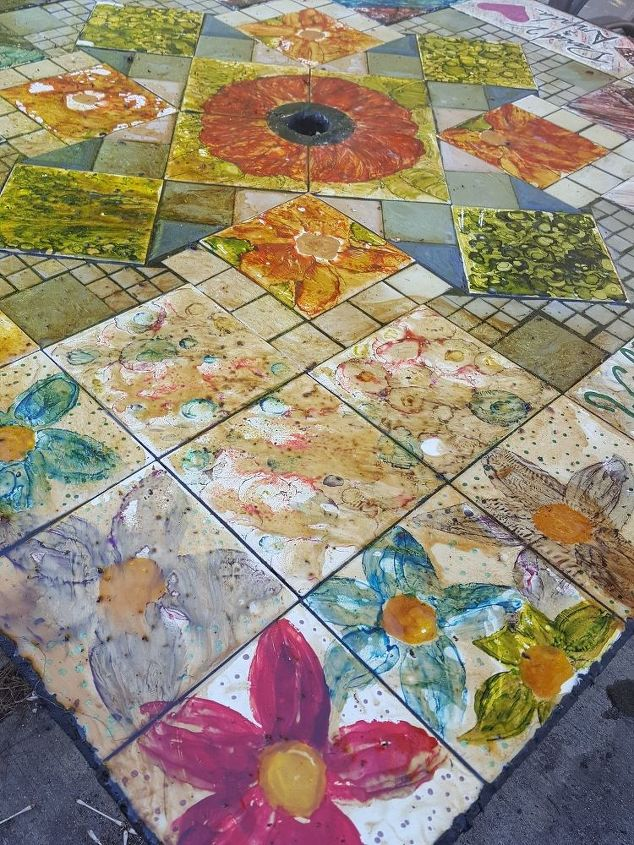 Help! Tile table painted with alcohol ink bad acrylic pour