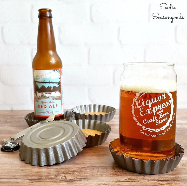 s 23 adorable ways you can make your own coasters, Vintage Tart Tin Bottle Cap Coasters