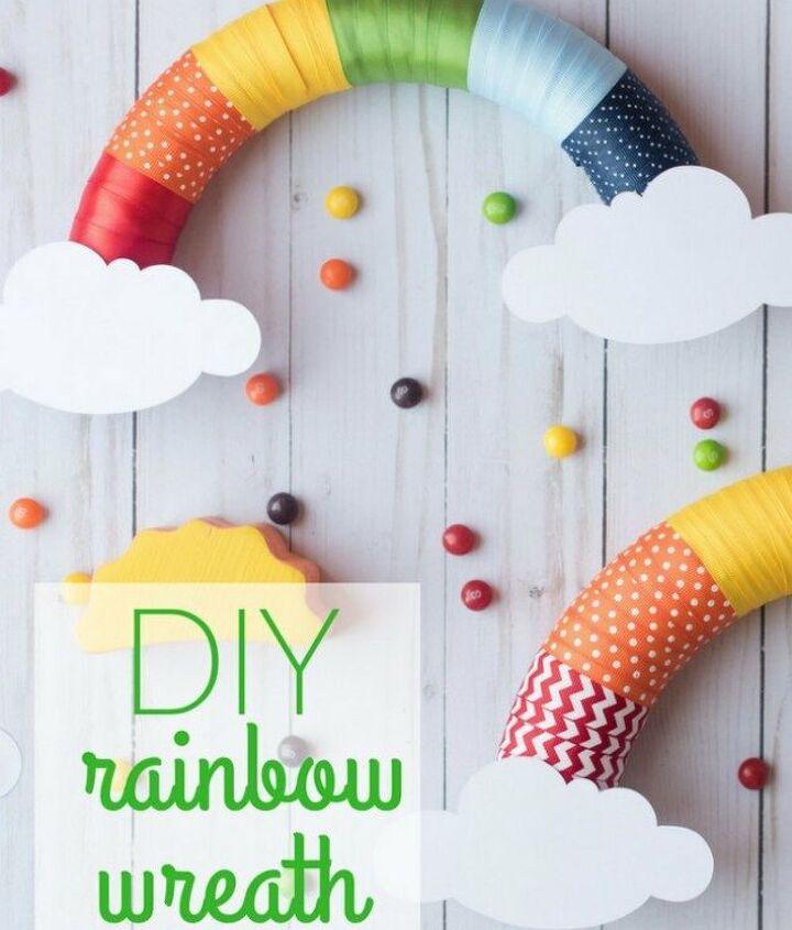 diy rainbow ribbon wreath