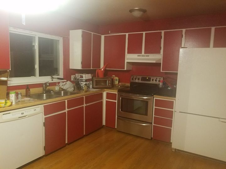 utopian kitchen, cleanest kitchen, old ugly kitchen, badly designed kitchen, painting ugly kitchen, pink kitchen, oldest kitchen, on ugliest kitchen cabinets