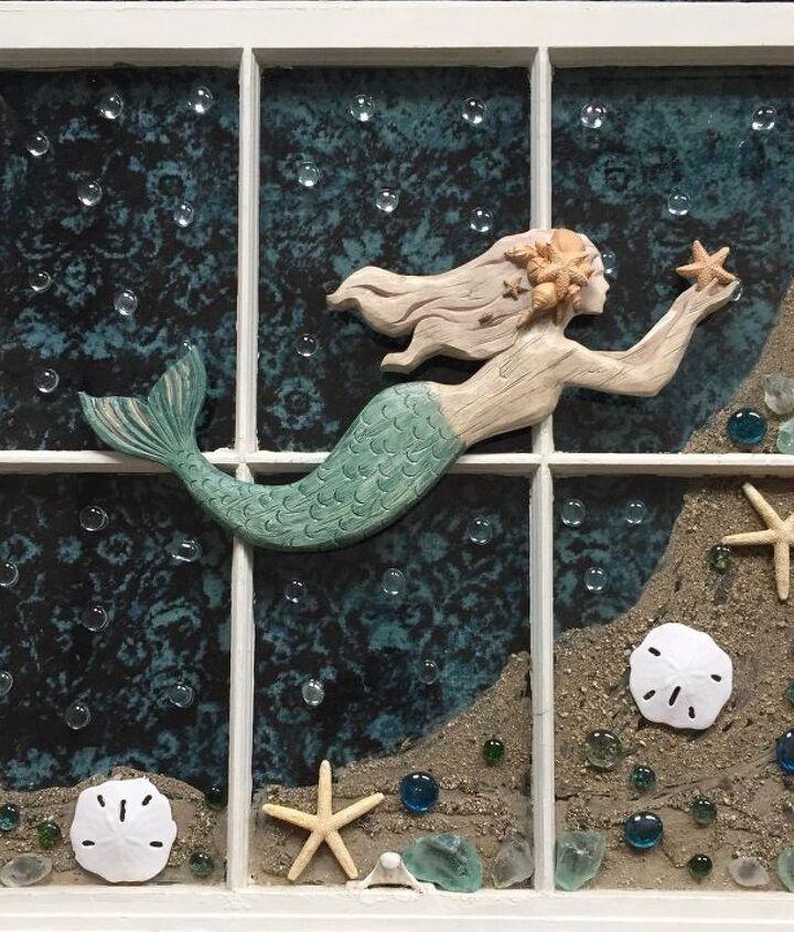 old window magical mermaid