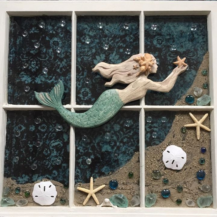 old window magical mermaid