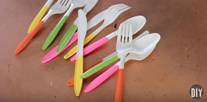 s get the party started with these perfect diy decor ideas, Painted Dollar Store Utensils