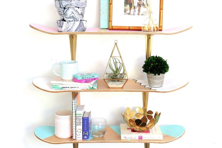 s these bloggers are just too creative check out their projects, Skateboard Deck Shelf Upcycle