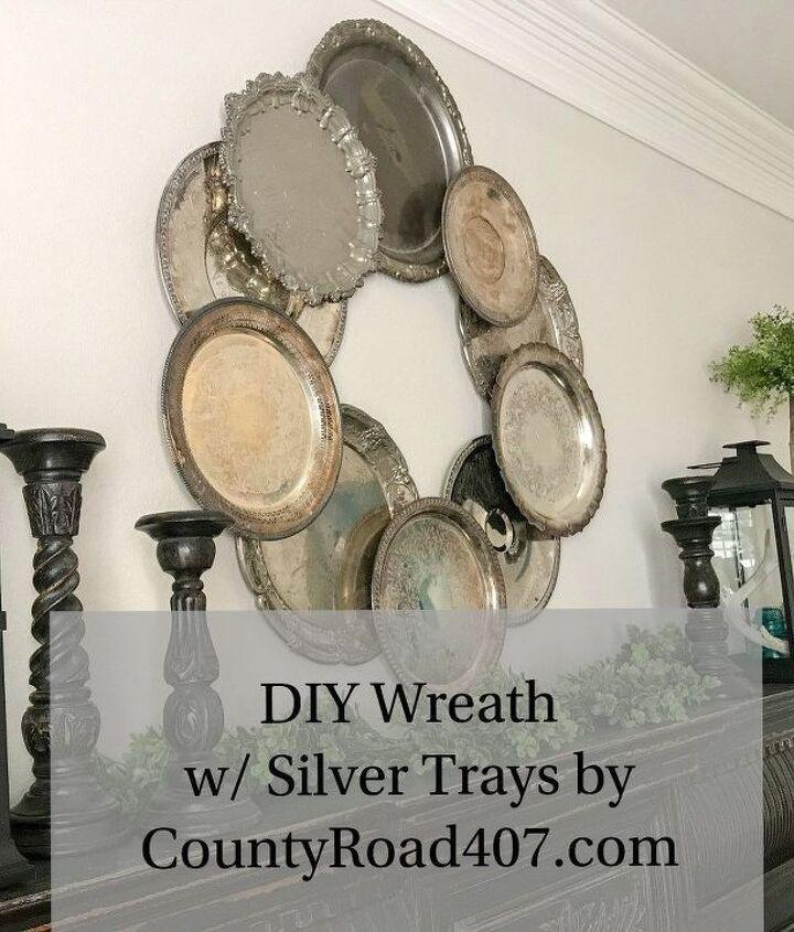 diy silver tray wreath