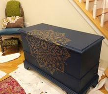 transform your tv stand with mandala stencils