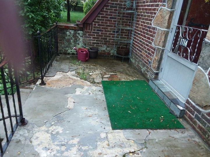 q old rundown concrete front porch