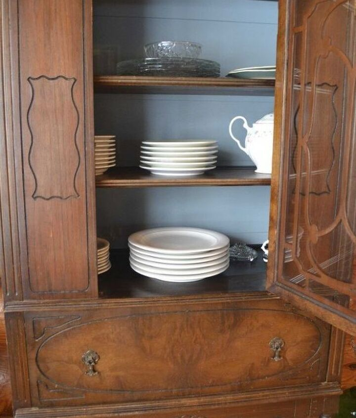 tired china cabinet interior update with chalk paint