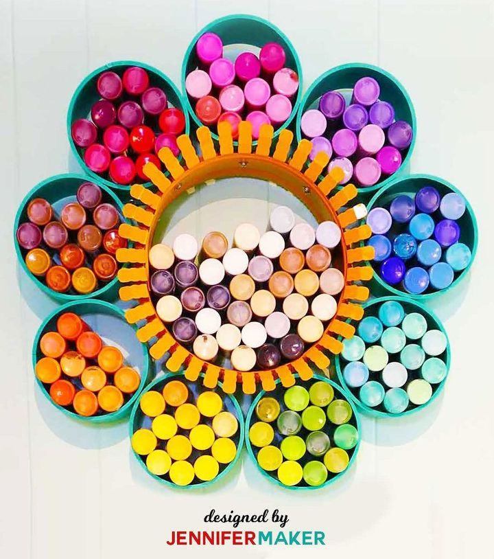 craft supply storage wallflower from pvc pipes