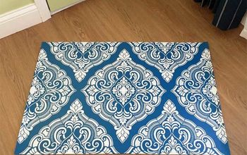 Decorate Your Floor With a Stenciled Damask Floorcloth