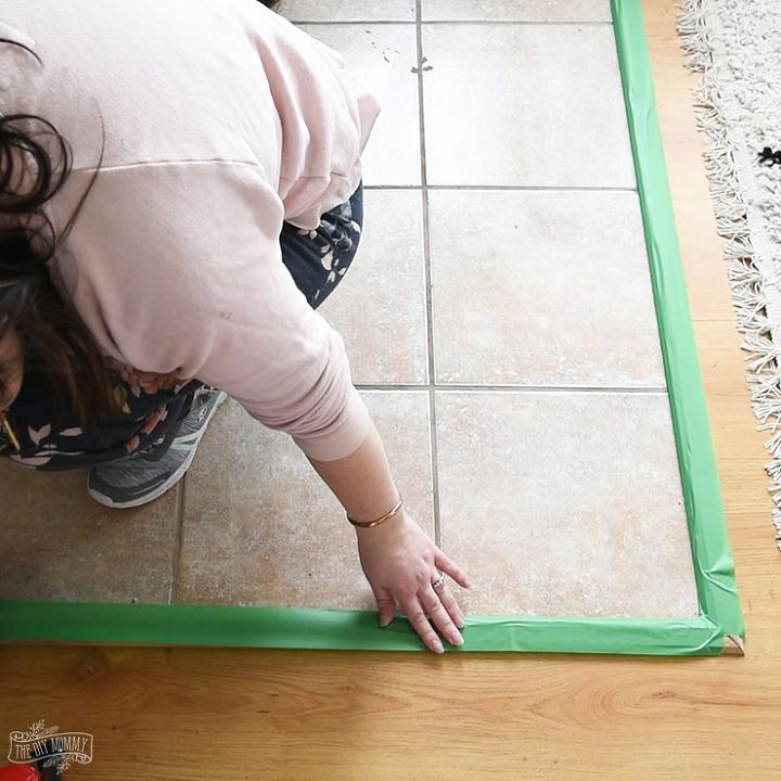 how to paint tile floors with a stencil
