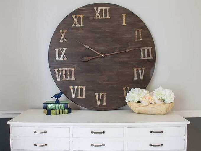 how to make a giant diy wall clock from a tabletop