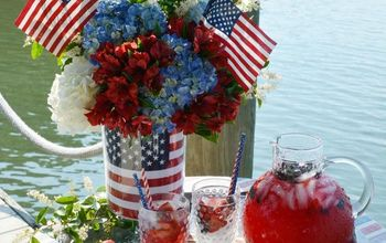 Patriotic Flower Arrangement With an American Flag