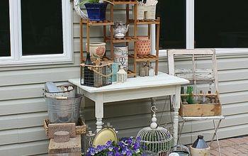 rustic diy potting bench old table shoe rack