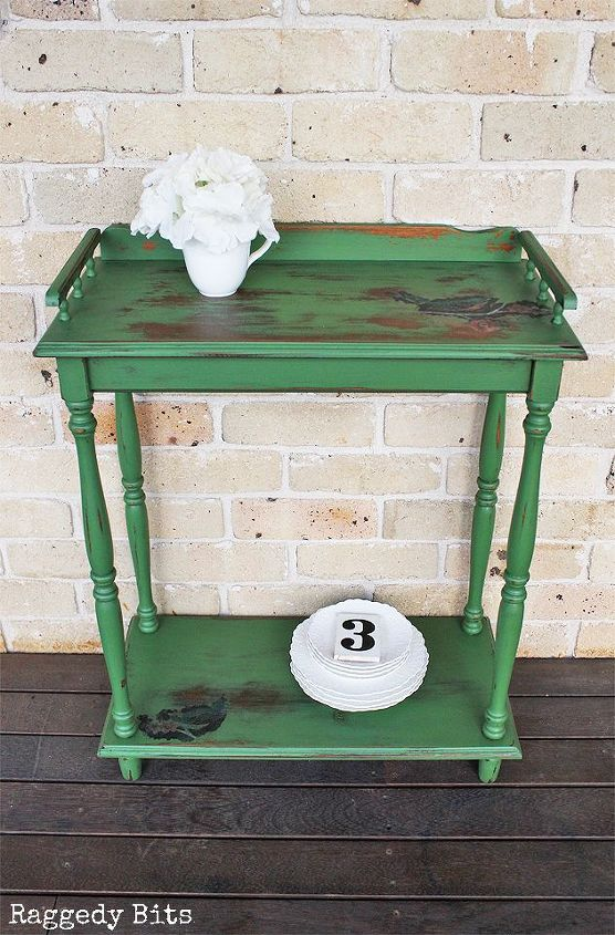 thrifted milk paint side table makeover using the napkin method