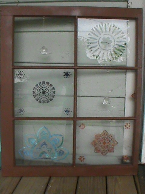easy stenciling on an old window