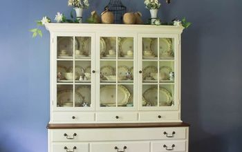 antique white hutch transformation