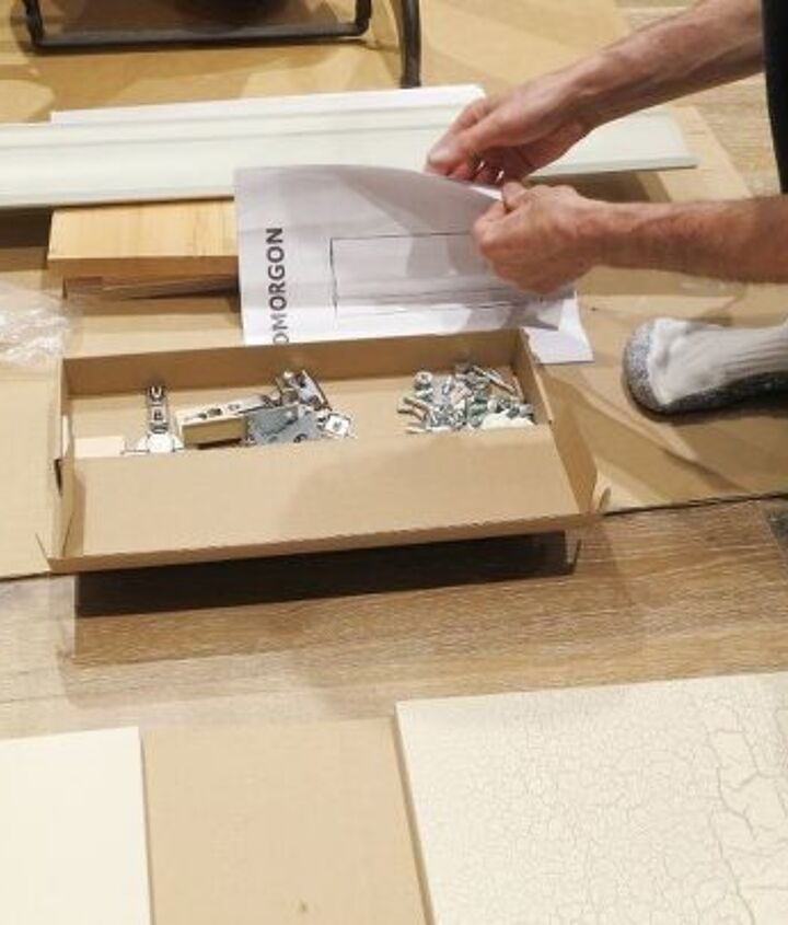 transform an ikea wall cabinet with crackle medium