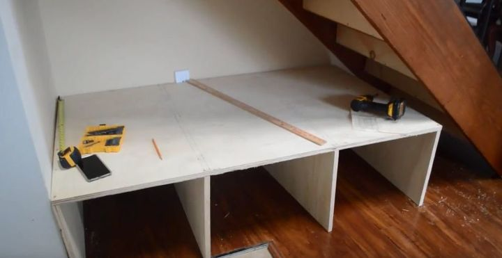 diy shiplap staircase organization bench video